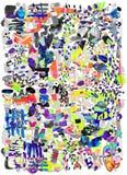 Σύγχρονο πολύχρωμο φουτουριστικό λαϊκό σχέδιο τέχνης Φωτεινή αφηρημένη ζωγραφική χρώματος στο νεω ύφος της Μέμφιδας απεικόνιση αποθεμάτων