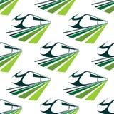 Σύγχρονο πράσινο άνευ ραφής σχέδιο τραίνων Στοκ Εικόνα
