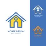 Σύγχρονο πρότυπο σχεδίου λογότυπων σπιτιών οριζόντια απλό Στοκ Εικόνα