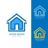 Σύγχρονο πρότυπο σχεδίου λογότυπων σπιτιών οριζόντια απλό Στοκ Φωτογραφία