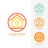 Σύγχρονο πρότυπο σχεδίου λογότυπων σπιτιών οριζόντια απλό Στοκ Εικόνες