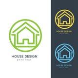 Σύγχρονο πρότυπο σχεδίου λογότυπων σπιτιών οριζόντια απλό Στοκ Φωτογραφίες