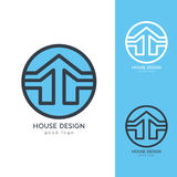 Σύγχρονο πρότυπο σχεδίου λογότυπων σπιτιών οριζόντια απλό Στοκ εικόνα με δικαίωμα ελεύθερης χρήσης