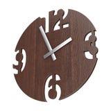 Σύγχρονο ρολόι ρολογιών κύκλων τοίχων ξύλινο τρισδιάστατη απόδοση ελεύθερη απεικόνιση δικαιώματος