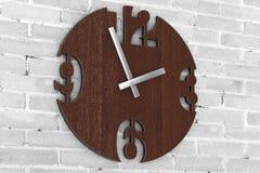 Σύγχρονο ρολόι ρολογιών κύκλων τοίχων ξύλινο r απεικόνιση αποθεμάτων