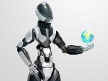 Σύγχρονο ρομπότ που κρατά τη σφαιρική σφαίρα/το τρισδιάστατο cyborg παίρνοντας τον έλεγχο η γη Στοκ Εικόνες