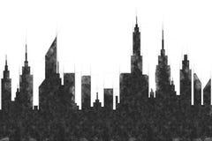 Σύγχρονο σκίτσο κτηρίων και ουρανοξυστών πόλεων διανυσματική απεικόνιση