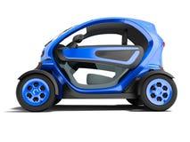 Σύγχρονο σκούρο μπλε ηλεκτρικό αυτοκίνητο για τα ταξίδια πόλεων στο τρισδιάστατο ren δύο καθισμάτων ελεύθερη απεικόνιση δικαιώματος