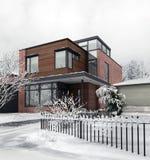 Σύγχρονο σπίτι σε Wintertime Στοκ εικόνα με δικαίωμα ελεύθερης χρήσης