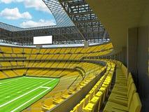 Σύγχρονο στάδιο αμερικανικού ποδοσφαίρου με τα κίτρινα καθίσματα Στοκ Εικόνα