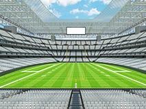 Σύγχρονο στάδιο αμερικανικού ποδοσφαίρου με τα άσπρα καθίσματα Στοκ Φωτογραφία