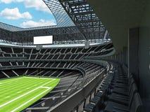 Σύγχρονο στάδιο αμερικανικού ποδοσφαίρου με τα μαύρα καθίσματα Στοκ Εικόνα
