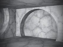 Σύγχρονο συγκεκριμένο κενό εσωτερικό υπόβαθρο δωματίων Αφηρημένο αστικό α Στοκ Εικόνες