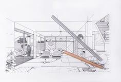Σύγχρονο σχέδιο γραφείων, σχέδιο αρχιτεκτόνων Στοκ Φωτογραφίες