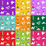 Σύγχρονο σχέδιο εικονιδίων Ιστού για το κινητό εικονίδιο καθορισμένο Ramadan σκιών Στοκ εικόνα με δικαίωμα ελεύθερης χρήσης
