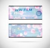 Σύγχρονο σχέδιο εισιτηρίων κινηματογράφων, διανυσματική απεικόνιση 10 eps γραφικό Στοκ Εικόνα