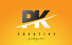 Σύγχρονο σχέδιο λογότυπων επιστολών του PK Π Κ με το κίτρινα υπόβαθρο και Swoo Στοκ εικόνες με δικαίωμα ελεύθερης χρήσης