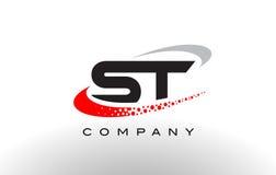Σύγχρονο σχέδιο λογότυπων επιστολών του ST με κόκκινο διαστιγμένο Swoosh απεικόνιση αποθεμάτων