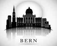 Σύγχρονο σχέδιο οριζόντων πόλεων της Βέρνης Στοκ Εικόνες