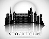 Σύγχρονο σχέδιο οριζόντων πόλεων της Στοκχόλμης Σουηδία Στοκ φωτογραφία με δικαίωμα ελεύθερης χρήσης
