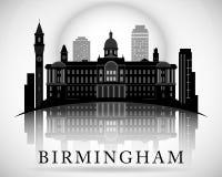 Σύγχρονο σχέδιο οριζόντων πόλεων του Μπέρμιγχαμ Αγγλία ελεύθερη απεικόνιση δικαιώματος