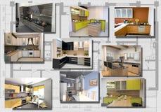 σύγχρονο σύνολο κουζινών εικόνας εσωτερικό Στοκ Εικόνες