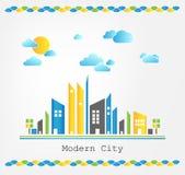 Σύγχρονο τοπίο πόλεων ελεύθερη απεικόνιση δικαιώματος