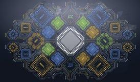 Σύγχρονο υπόβαθρο με το φουτουριστικό ενδιάμεσο με τον χρήστη Τεχνολογία υλικού ηλεκτρονικών υπολογιστών Ψηφιακό τσιπ μητρικών κα Διανυσματική απεικόνιση