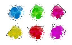 Σύγχρονο υπόβαθρο που τίθεται με το μίμησης watercolor σπινθηρίσματος άσπρο χρώμα υποβάθρου Διανυσματικό έμβλημα ελεύθερη απεικόνιση δικαιώματος