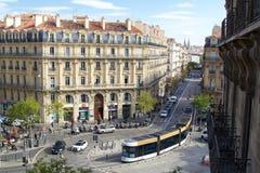 Σύγχρονο φιλικό προς το περιβάλλον ηλεκτρικό σύστημα τραμ στη Μασσαλία, Γαλλία 2018 Στοκ Εικόνες