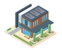 Σύγχρονο φιλικό θερμοκήπιο Eco πολυτέλειας Isometric με το ηλιακό πλαίσιο Στοκ φωτογραφίες με δικαίωμα ελεύθερης χρήσης