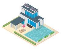 Σύγχρονο φιλικό θερμοκήπιο Eco πολυτέλειας Isometric με το ηλιακό πλαίσιο Στοκ Εικόνες