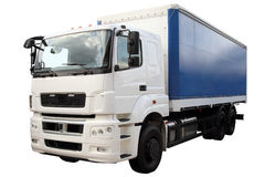 Σύγχρονο φορτηγό μια μπλε σκηνή που απομονώνεται με στο λευκό στοκ εικόνες