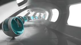 Σύγχρονο φουτουριστικό κτήριο με τα καθίσματα Στοκ Εικόνες