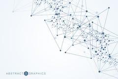 Σύγχρονο φουτουριστικό υπόβαθρο του επιστημονικού εξαγωνικού σχεδίου Εικονικό αφηρημένο υπόβαθρο με το μόριο, μόριο Στοκ εικόνα με δικαίωμα ελεύθερης χρήσης