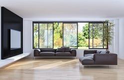 Σύγχρονο φωτεινό διαμέρισμα εσωτερικού με το πλαίσιο αφισών προτύπων τρισδιάστατο σχετικά με Στοκ εικόνα με δικαίωμα ελεύθερης χρήσης