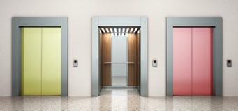 σύγχρονο χρώματος χάλυβα elevatore σωστό τρόπων illu απόδοσης έννοιας τρισδιάστατο Στοκ Φωτογραφία
