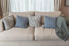 σύγχρονο ύφος καθιστικών με τον καφετή σύγχρονο καναπέ Στοκ Εικόνες