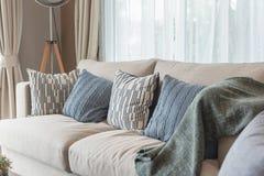 σύγχρονο ύφος καθιστικών με τον καφετή σύγχρονο καναπέ Στοκ εικόνες με δικαίωμα ελεύθερης χρήσης