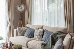 σύγχρονο ύφος καθιστικών με τον καφετή σύγχρονο καναπέ Στοκ Φωτογραφία