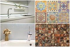 Σύγχρονο ύφος washbasin στο λουτρό και την κουζίνα, πορτογαλικό κεραμίδι Στοκ εικόνες με δικαίωμα ελεύθερης χρήσης