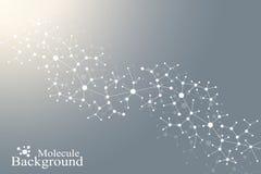 Σύγχρονο DNA μορίων δομών Άτομο Υπόβαθρο μορίων και επικοινωνίας για την ιατρική, επιστήμη, τεχνολογία, χημεία διανυσματική απεικόνιση