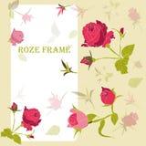 Σύγχρονο, floral πλαίσιο χρώματος για το κόκκινο hand-drawn κείμενο τριαντάφυλλων ελεύθερη απεικόνιση δικαιώματος