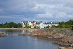 Σύγχρονο Hanko Η άποψη από την ακτή του Κόλπου της Φινλανδίας Στοκ Εικόνα