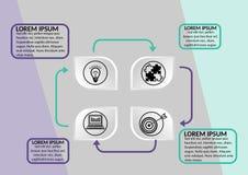 Σύγχρονο infographic πρότυπο απεικόνισης διαδικασίας, οριζόντιος προσανατολισμός, αφηρημένο διάνυσμα με αποτυπωμένο σε ανάγλυφο γ Στοκ εικόνες με δικαίωμα ελεύθερης χρήσης