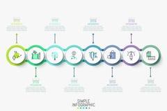 Σύγχρονο infographic πρότυπο σχεδίου Ζωηρόχρωμη οριζόντια υπόδειξη ως προς το χρόνο με τα 8 στρογγυλά στοιχεία, εικονίδια και παρ απεικόνιση αποθεμάτων