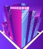 Σύγχρονο isometric διάνυσμα κτηρίων ουρανοξυστών στοκ εικόνα με δικαίωμα ελεύθερης χρήσης