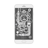 Σύγχρονο smartphone με τα διαφορετικά βαραίνω, τα εργαλεία και τις κλίμακες steampunk εκλεκτής ποιότητας μέσα επίσης corel σύρετε απεικόνιση αποθεμάτων
