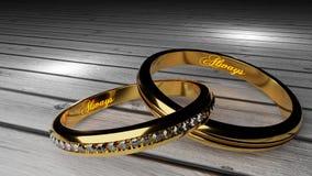 Σύζυγος και σύζυγος για πάντα - τα χρυσά γαμήλια δαχτυλίδια ένωσαν μαζί για πάντα με χαραγμένος και να φορέσουν γάντια λέξεις διανυσματική απεικόνιση
