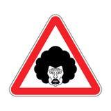 σύζυγοση προσοχής Γκρινιάρα γυναίκα προσοχής Κόκκινος κίνδυνος οδικών σημαδιών απεικόνιση αποθεμάτων